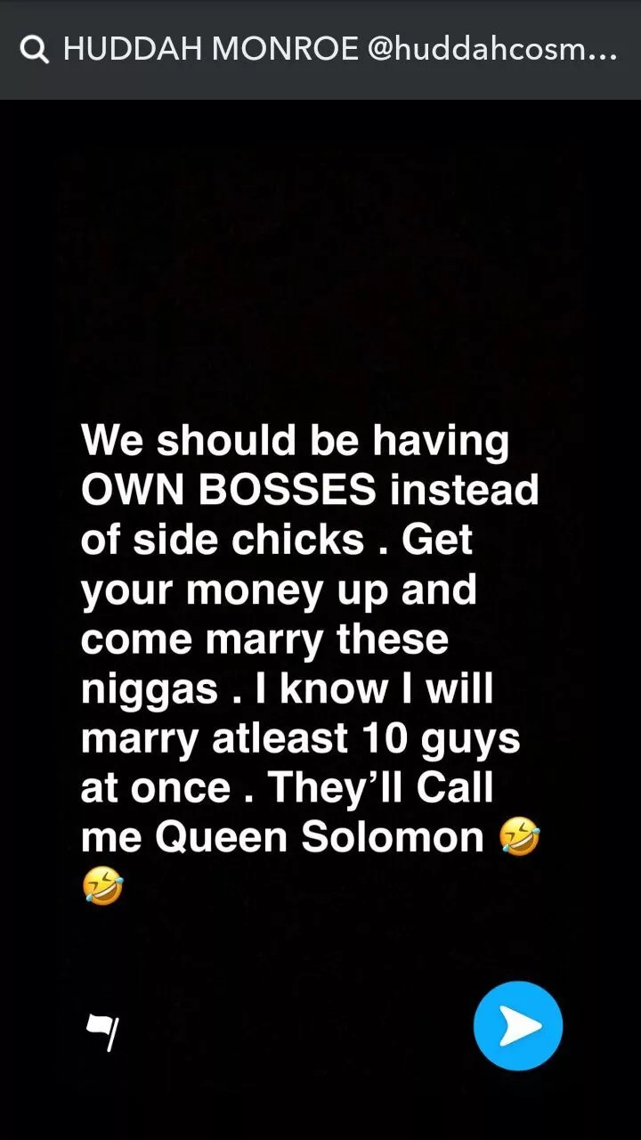 Socialite Huddah Monroe plans to get married to 10 men at a go and we are all surprised. Photo: Huddah/Snapchat