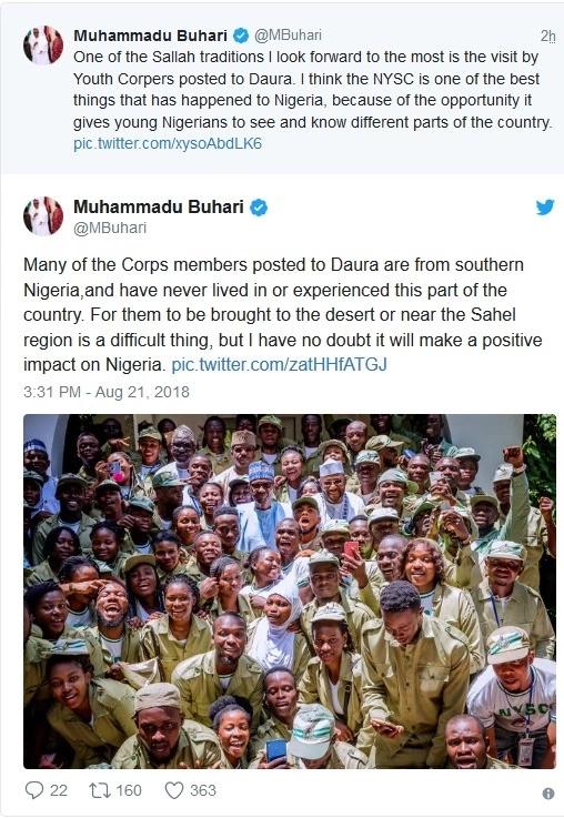President Buhari meets Corpers