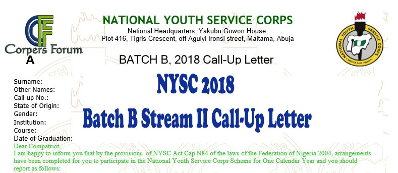 NYSC batch B Stream II call up letter