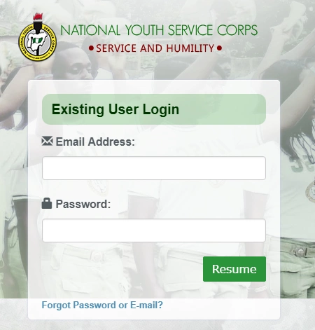 NYSC Portal Login Dashboard