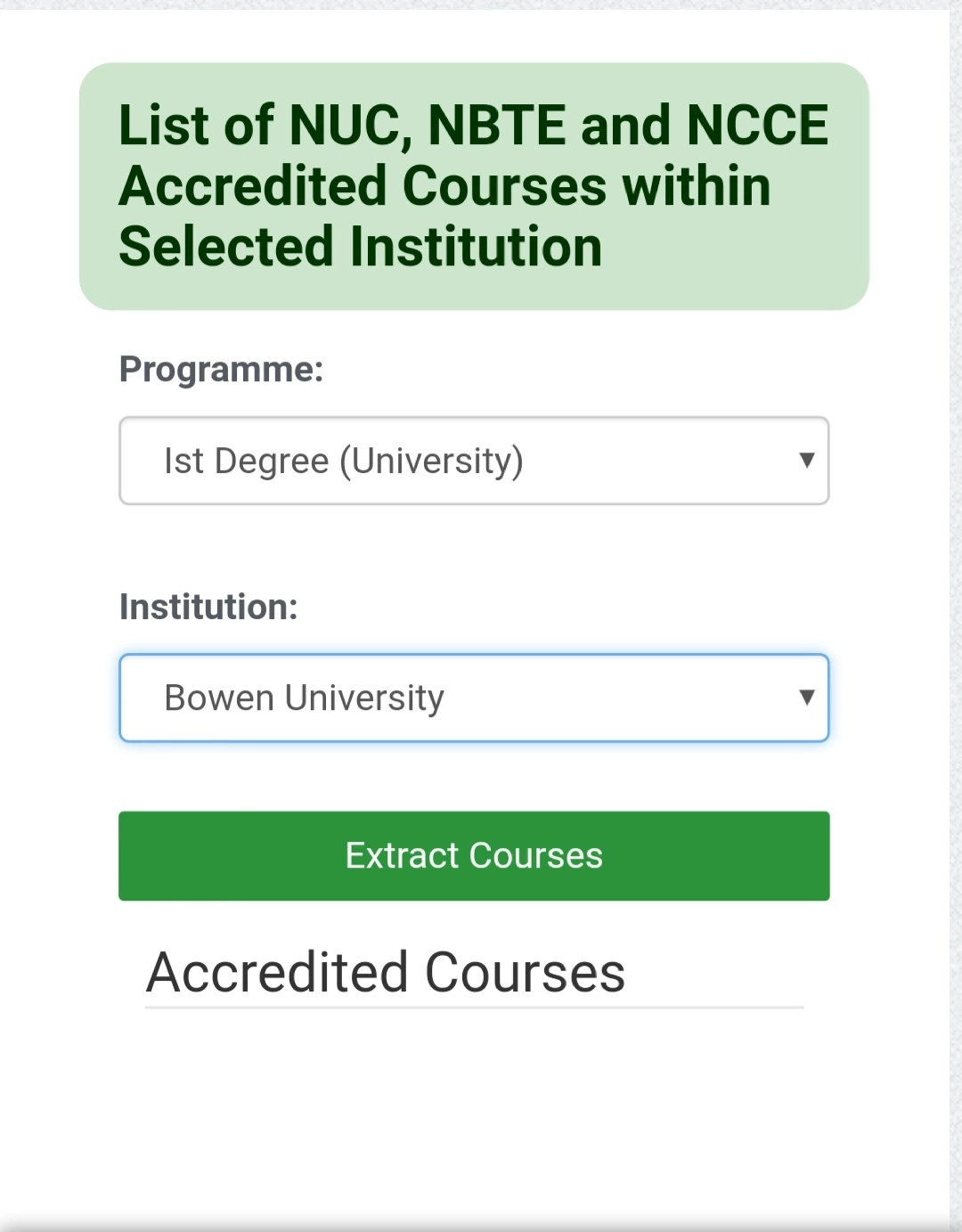 Check If Your Institutions And Programmes Is Accredited