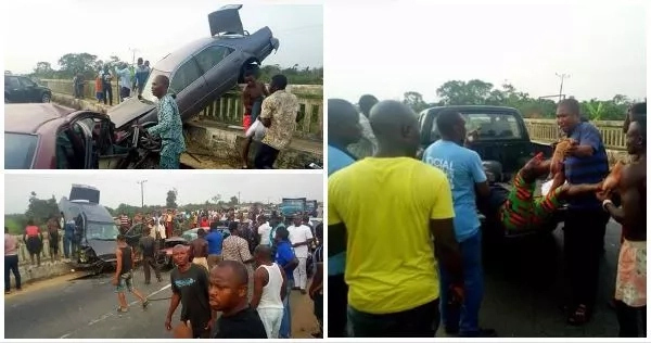 Man's Leg Crushed After 2 Cars Collided In A Terrible Accident In Bayelsa (Photos)