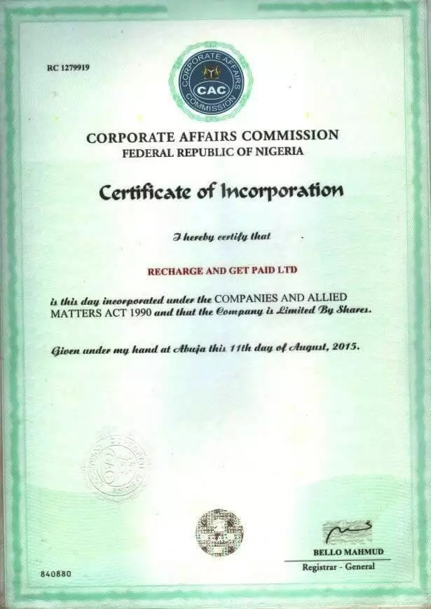 recharge and get paid registration certificate