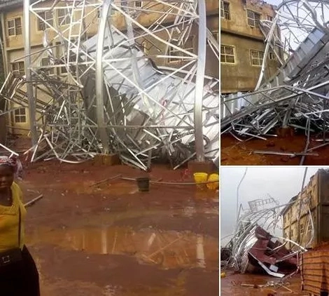 Iron Tank Collapses In A Secondary School In Anambra....See Hrt Breaking Photos