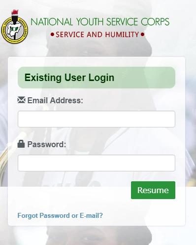 NYSC Login Portal