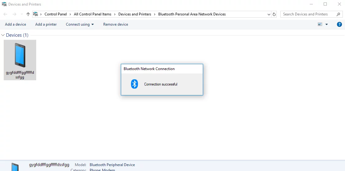 Bluetooth personal area network an unexpected error occurred