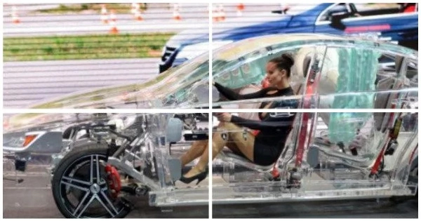 Future of road safety exposed: Transparent car made of acrylic showcases the next generation of automotive safety technology