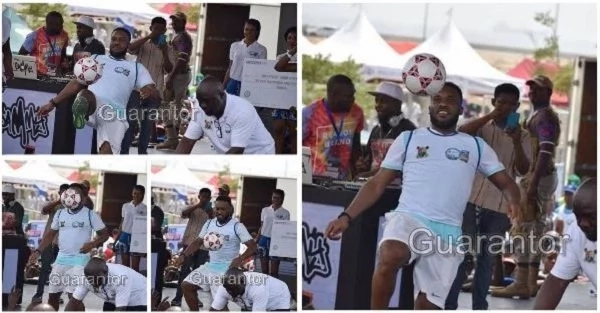 Jay Jay Okocha Shows Off His Ball Joggling Skills As Ladies Look On Photos