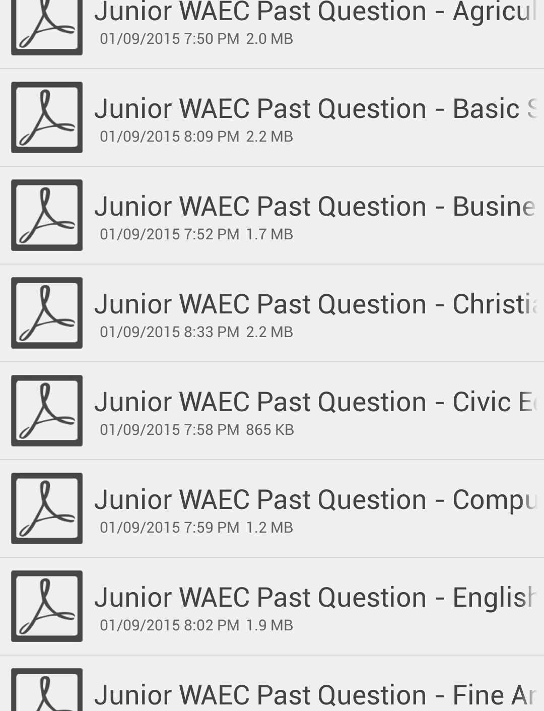 Junior WAEC past questions for all the subjects - FREE PDF download