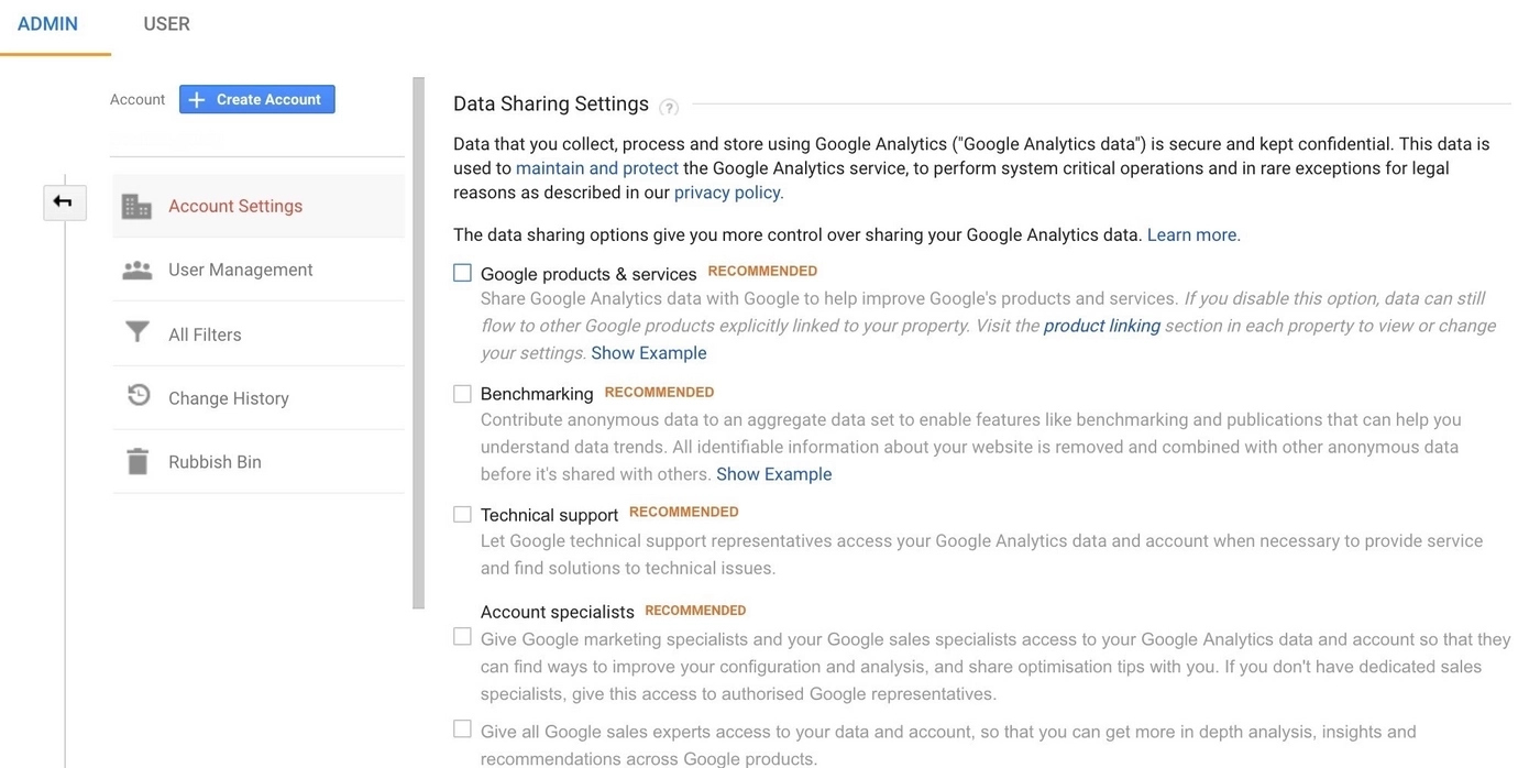 Access preferences in Google Analytics