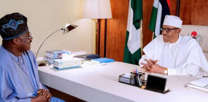 President Buhari meets with Gov Ajimobi over Olubadan crisis - See photos