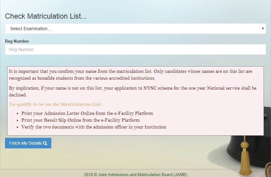 jamb matriculation list by nyscnews.com