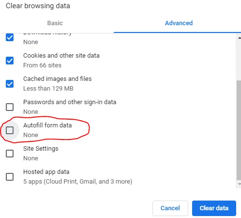Chrome autofill settings