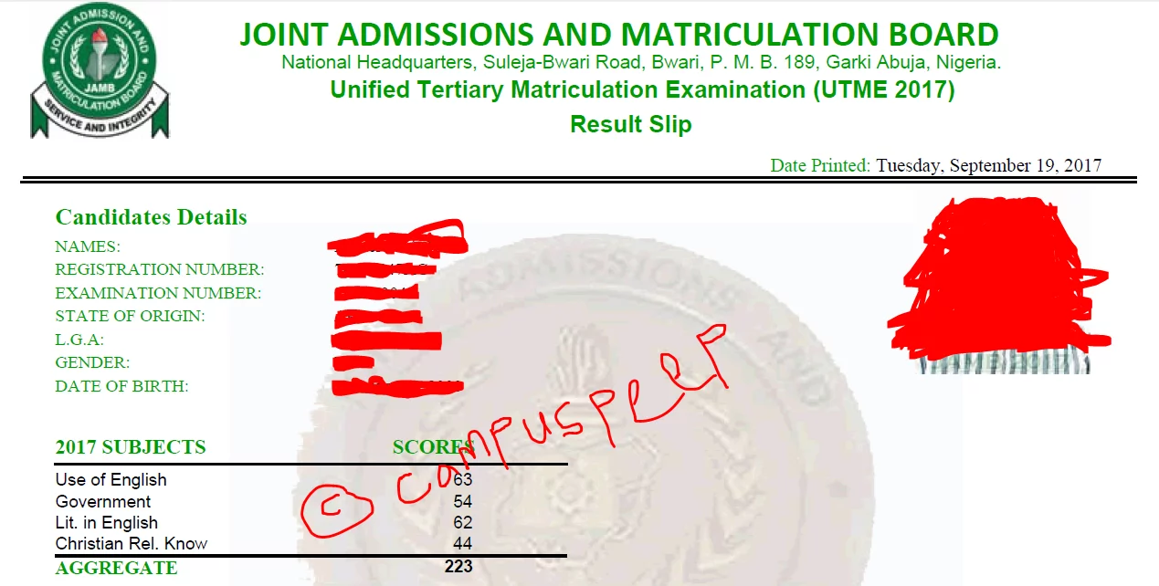 original jamb result slip
