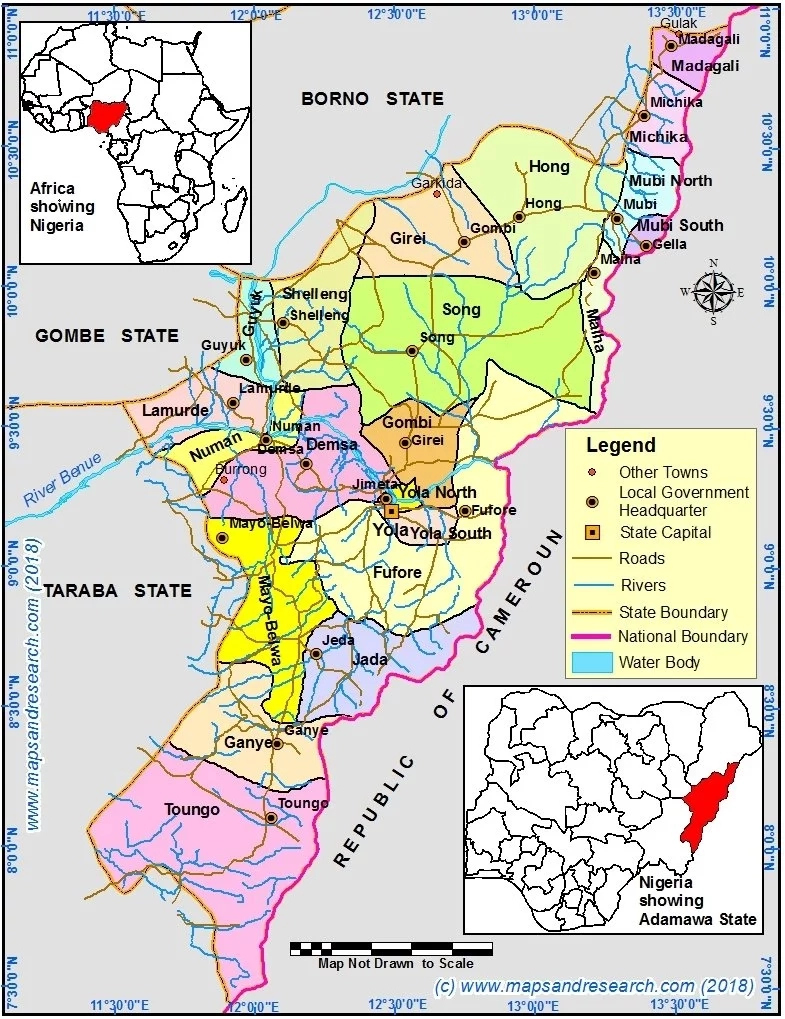 Adamawa State Map showing Locations, Positions and L.G.As