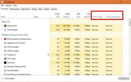 How to know the most power consuming programs in Windows 10