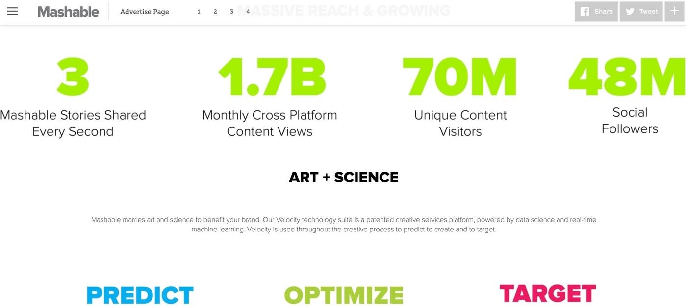 Mashable media kit example