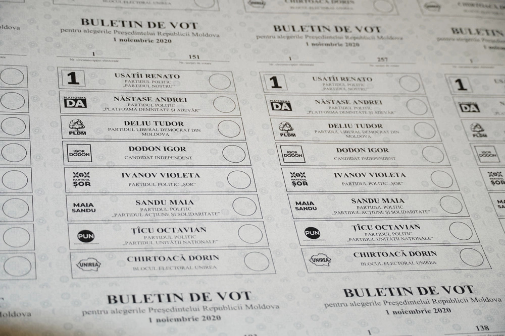 Buletinul de vot pentru alegerile prezidențiale din 1 noiembrie 2020
