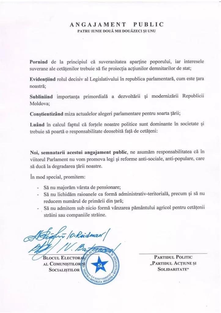 Blocul Comuniștilor și Socialiștilor a propus Partidului Acțiune și Solidaritate să semneze un angajament față de cetățeni