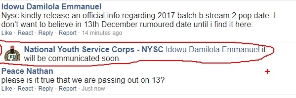 NYSC Management Denied Dec 13th As POP For 2017 Batch B Stream II - Gobe!